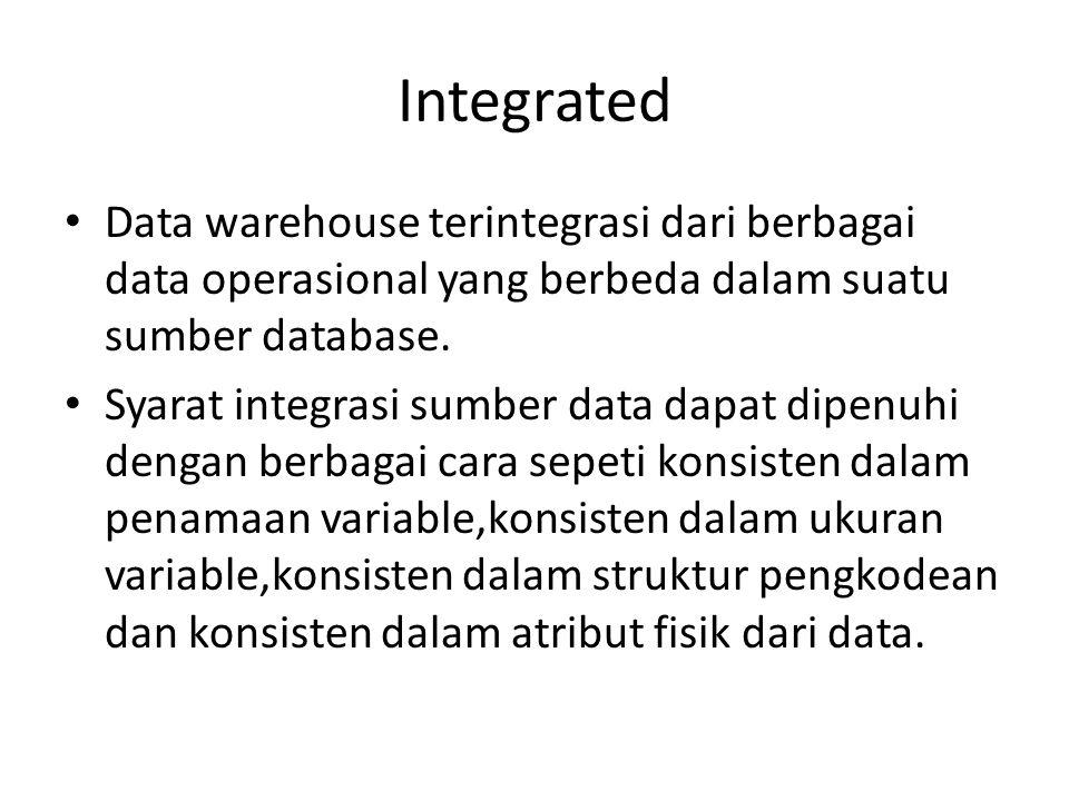 Integrated Data warehouse terintegrasi dari berbagai data operasional yang berbeda dalam suatu sumber database. Syarat integrasi sumber data dapat dip