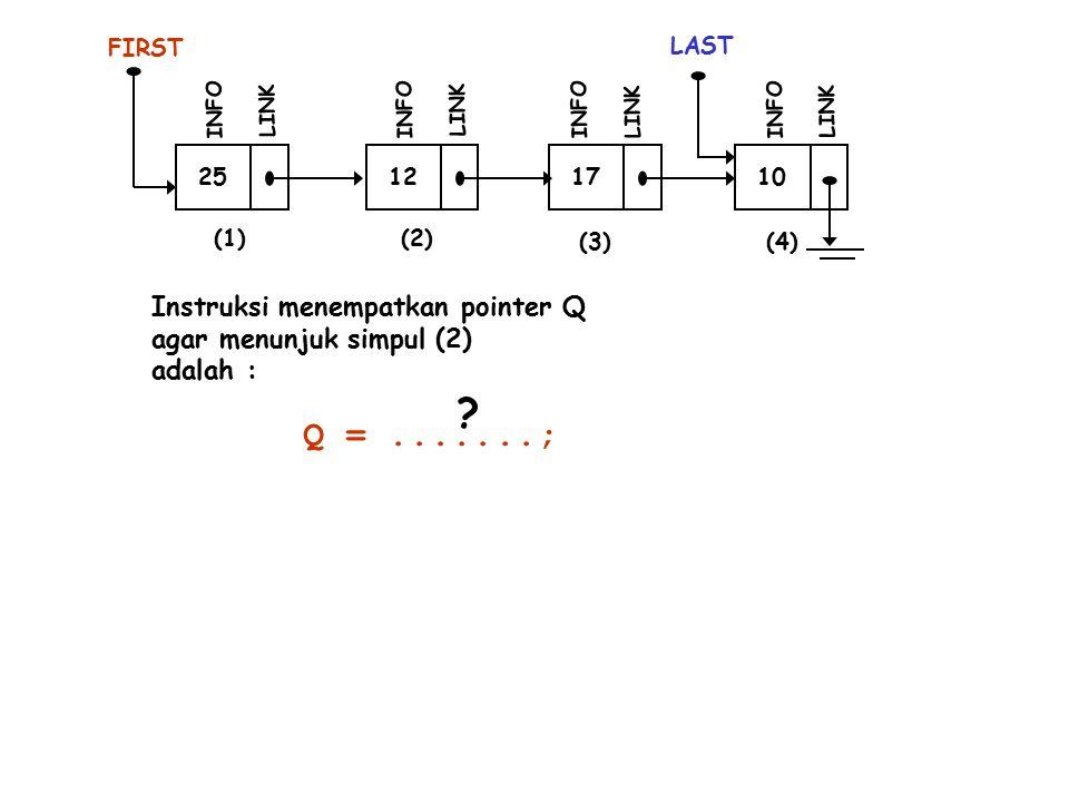 25 FIRST INFO LINK 12 INFO LINK 17 INFO LINK 10 LAST INFO LINK (1)(2) (3)(4) Instruksi menempatkan pointer Q agar menunjuk simpul (2) adalah : Q =.......; ?