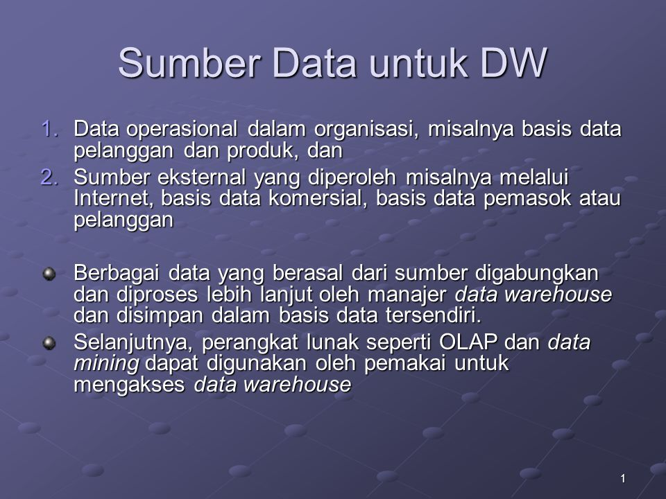 22 Contoh Software Data Mart SmartMart (IBM) Visual Warehouse (IBM) PowerMart (Informatica)