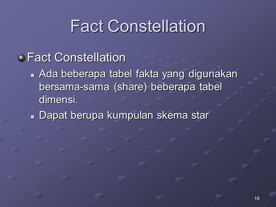 18 Fact Constellation Ada beberapa tabel fakta yang digunakan bersama-sama (share) beberapa tabel dimensi. Ada beberapa tabel fakta yang digunakan ber