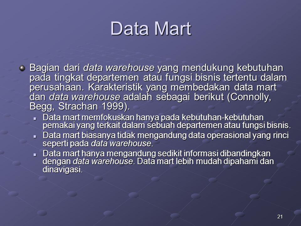 21 Data Mart Bagian dari data warehouse yang mendukung kebutuhan pada tingkat departemen atau fungsi bisnis tertentu dalam perusahaan. Karakteristik y