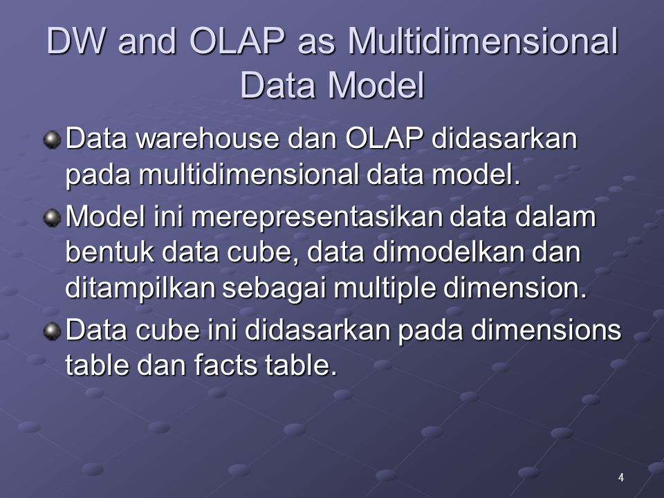 25 OLAP : Contoh Data 2 Dimensi