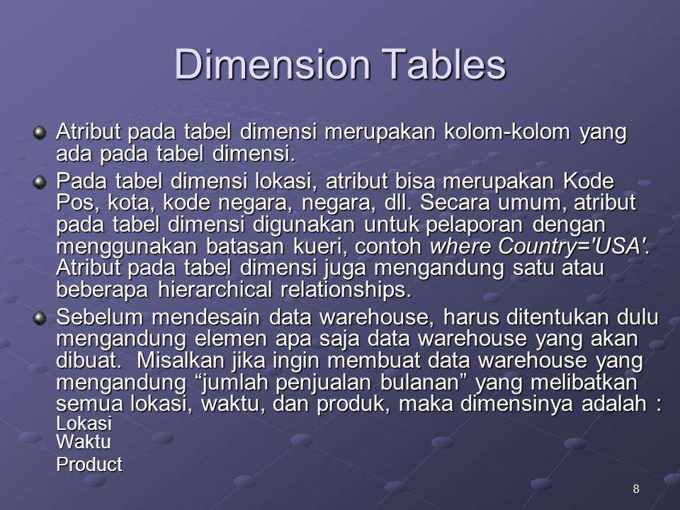 8 Dimension Tables Atribut pada tabel dimensi merupakan kolom-kolom yang ada pada tabel dimensi. Pada tabel dimensi lokasi, atribut bisa merupakan Kod