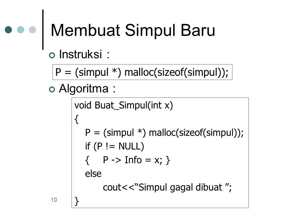 10 Membuat Simpul Baru Instruksi : Algoritma : P = (simpul *) malloc(sizeof(simpul)); void Buat_Simpul(int x) { P = (simpul *) malloc(sizeof(simpul));