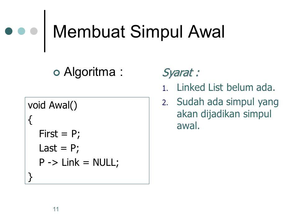11 Membuat Simpul Awal Algoritma : void Awal() { First = P; Last = P; P -> Link = NULL; } Syarat : 1. Linked List belum ada. 2. Sudah ada simpul yang