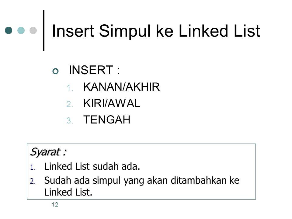 12 Insert Simpul ke Linked List INSERT : 1. KANAN/AKHIR 2. KIRI/AWAL 3. TENGAH Syarat : 1. Linked List sudah ada. 2. Sudah ada simpul yang akan ditamb