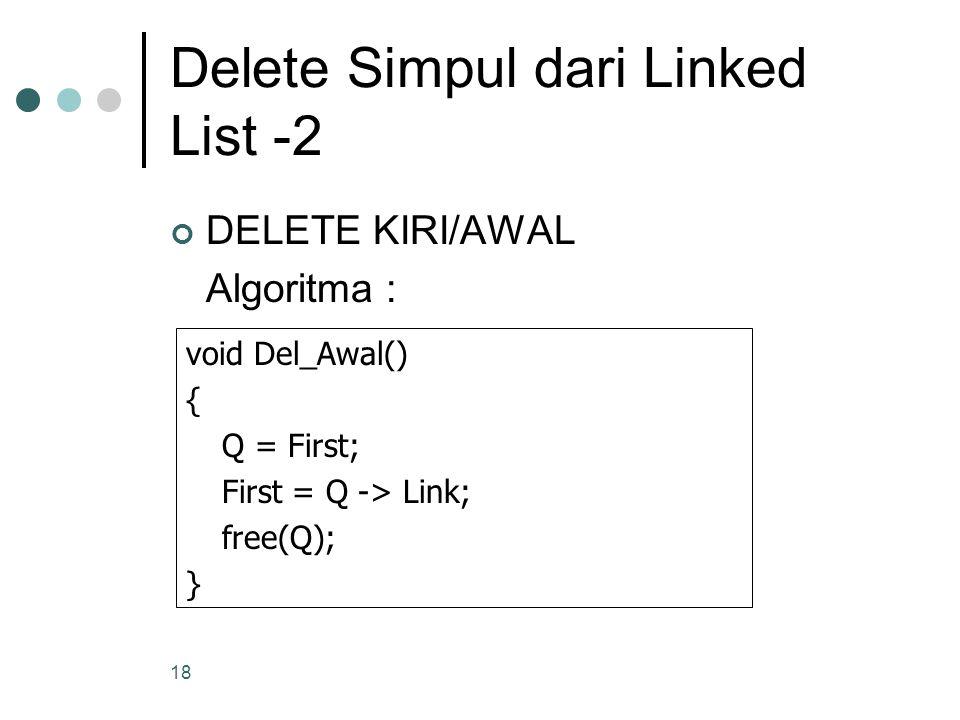 18 Delete Simpul dari Linked List -2 DELETE KIRI/AWAL Algoritma : void Del_Awal() { Q = First; First = Q -> Link; free(Q); }