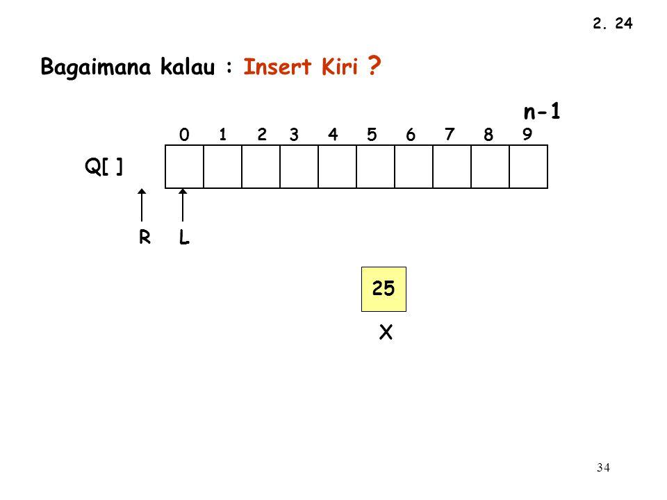 34 2. 24 LR Q[ ] Bagaimana kalau : Insert Kiri ? n-1 0 1 2 3 4 5 6 7 8 9 25 X