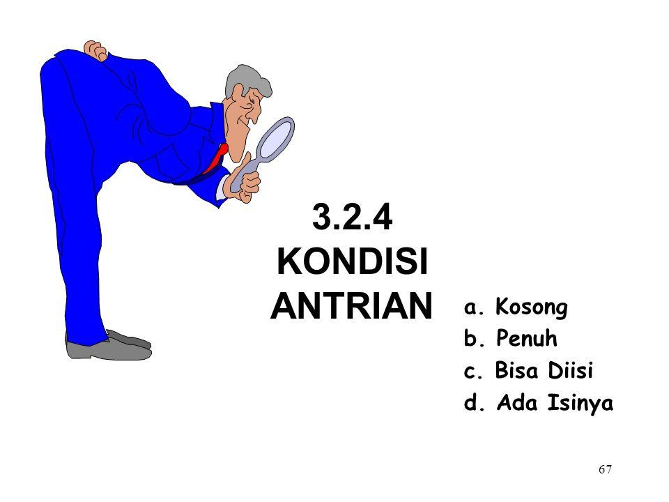 67 3.2.4 KONDISI ANTRIAN a. Kosong b. Penuh c. Bisa Diisi d. Ada Isinya
