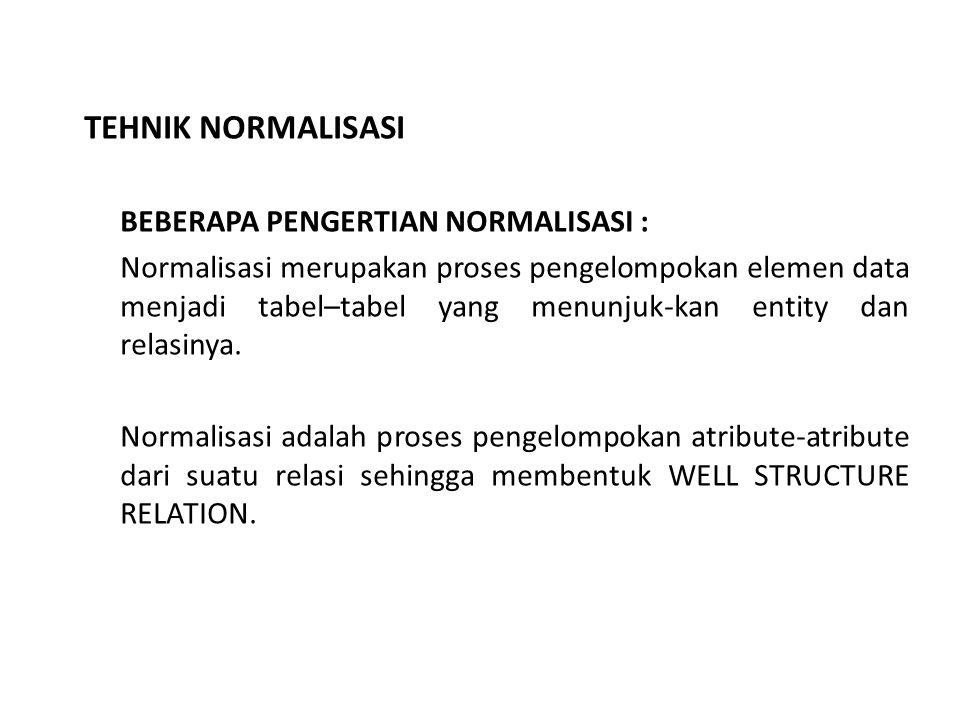 TEHNIK NORMALISASI BEBERAPA PENGERTIAN NORMALISASI : Normalisasi merupakan proses pengelompokan elemen data menjadi tabel–tabel yang menunjuk-kan entity dan relasinya.