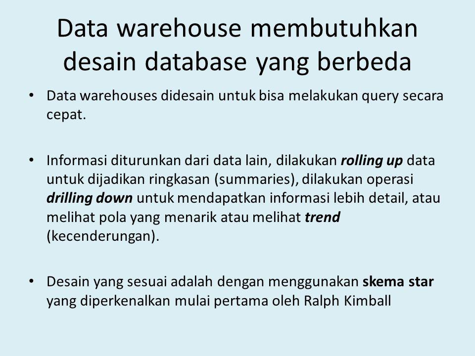 Data warehouse membutuhkan desain database yang berbeda Data warehouses didesain untuk bisa melakukan query secara cepat. Informasi diturunkan dari da
