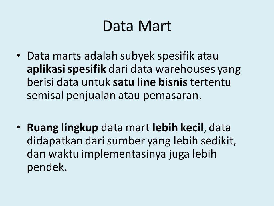 Data Mart Data marts adalah subyek spesifik atau aplikasi spesifik dari data warehouses yang berisi data untuk satu line bisnis tertentu semisal penju