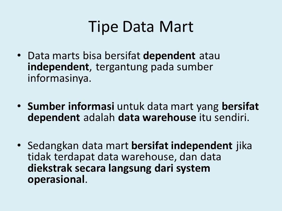 Tipe Data Mart Data marts bisa bersifat dependent atau independent, tergantung pada sumber informasinya. Sumber informasi untuk data mart yang bersifa