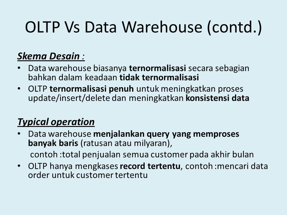 OLTP Vs Data Warehouse (contd.) Skema Desain : Data warehouse biasanya ternormalisasi secara sebagian bahkan dalam keadaan tidak ternormalisasi OLTP t