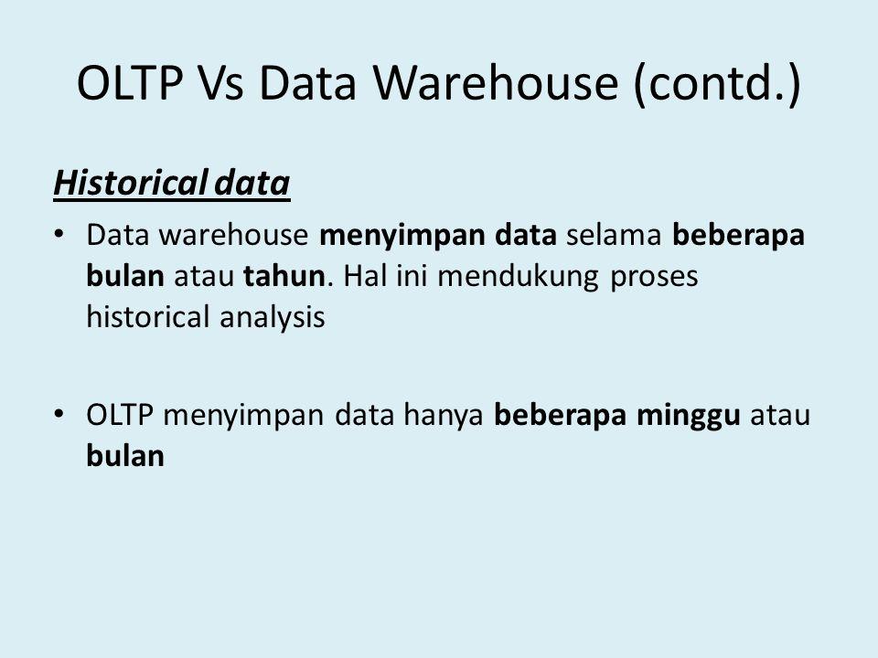 OLTP Vs Data Warehouse (contd.) Historical data Data warehouse menyimpan data selama beberapa bulan atau tahun. Hal ini mendukung proses historical an