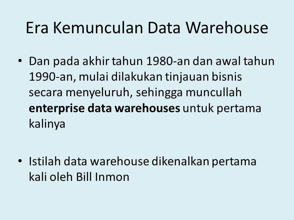 Ciri-ciri Data Warehouse Terdapat4 karateristik data warehouse: 1.Subject oriented – Data yang disusun menurut subyek berisi hanya informasi yang penting bagi pemrosesan decision support.