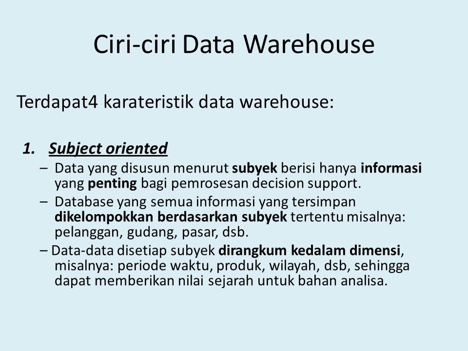 Ciri-ciri Data Warehouse Terdapat4 karateristik data warehouse: 1.Subject oriented – Data yang disusun menurut subyek berisi hanya informasi yang pent
