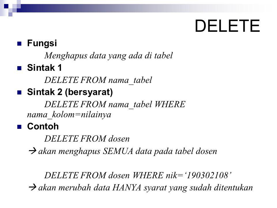 DELETE Fungsi Menghapus data yang ada di tabel Sintak 1 DELETE FROM nama_tabel Sintak 2 (bersyarat) DELETE FROM nama_tabel WHERE nama_kolom=nilainya C