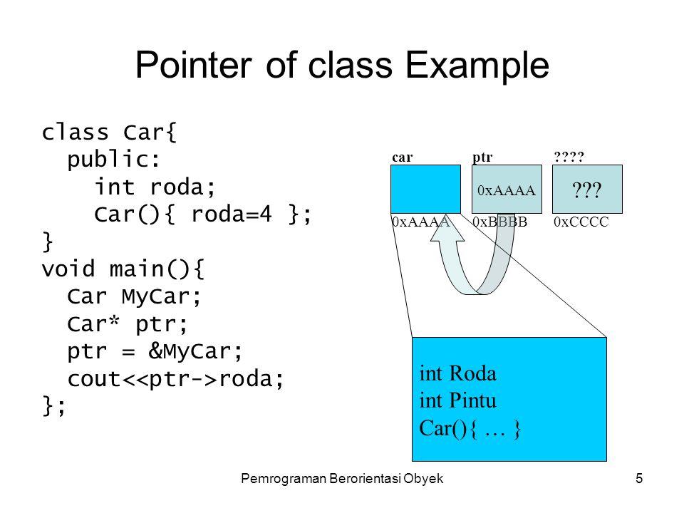 Pemrograman Berorientasi Obyek4 Pointer of class Sama dengan pendeklarasian pointer pada umumnya.