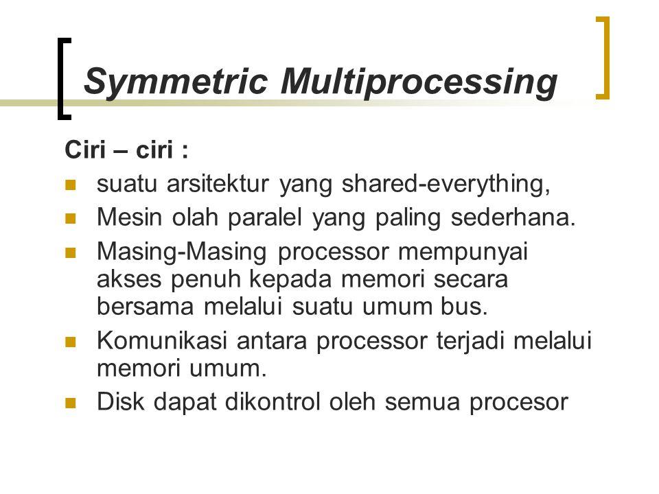 Symmetric Multiprocessing Ciri – ciri : suatu arsitektur yang shared-everything, Mesin olah paralel yang paling sederhana. Masing-Masing processor mem