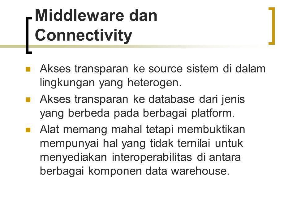 Middleware dan Connectivity Akses transparan ke source sistem di dalam lingkungan yang heterogen. Akses transparan ke database dari jenis yang berbeda