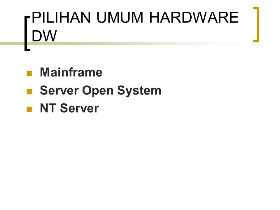Mainframe Hardware Teruji kemampuannya Dirancang Untuk OLTP dan bukan untuk aplikasi pendukung keputusan Tidak hemat biaya untuk data warehouse