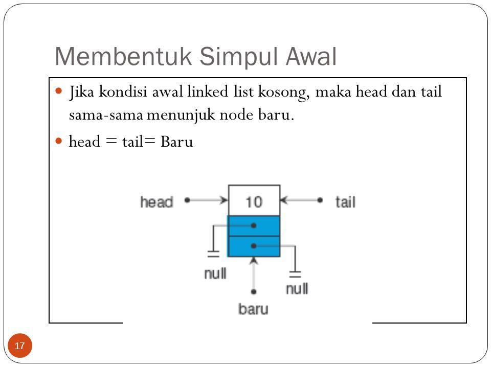 Membentuk Simpul Awal 17 Jika kondisi awal linked list kosong, maka head dan tail sama-sama menunjuk node baru. head = tail= Baru