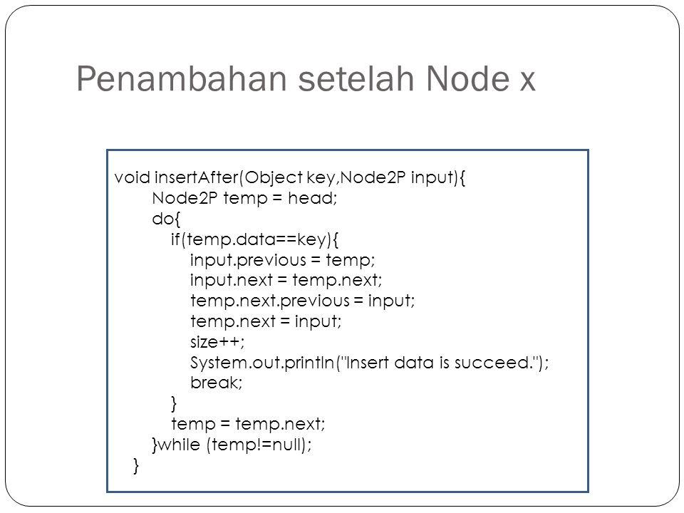 Penambahan setelah Node x void insertAfter(Object key,Node2P input){ Node2P temp = head; do{ if(temp.data==key){ input.previous = temp; input.next = t
