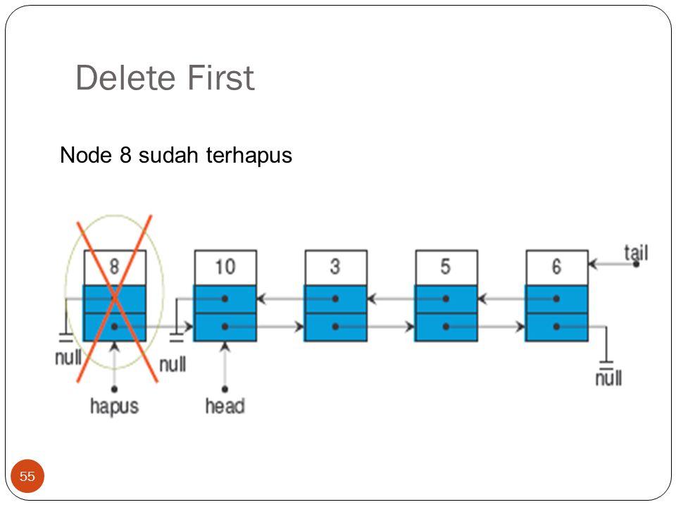 Delete First 55 Node 8 sudah terhapus