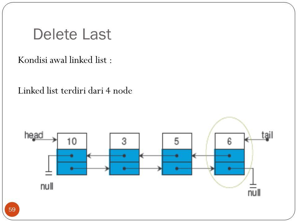 Delete Last 59 Kondisi awal linked list : Linked list terdiri dari 4 node