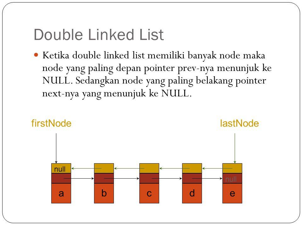 Double Linked List Ketika double linked list memiliki banyak node maka node yang paling depan pointer prev-nya menunjuk ke NULL. Sedangkan node yang p