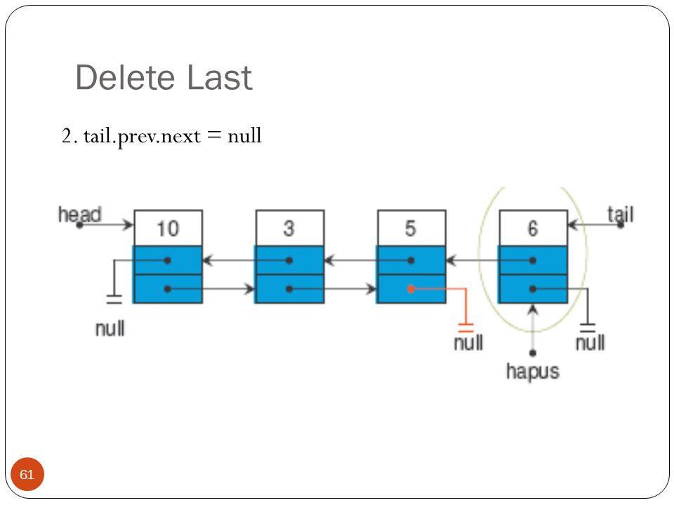 Delete Last 61 2. tail.prev.next = null