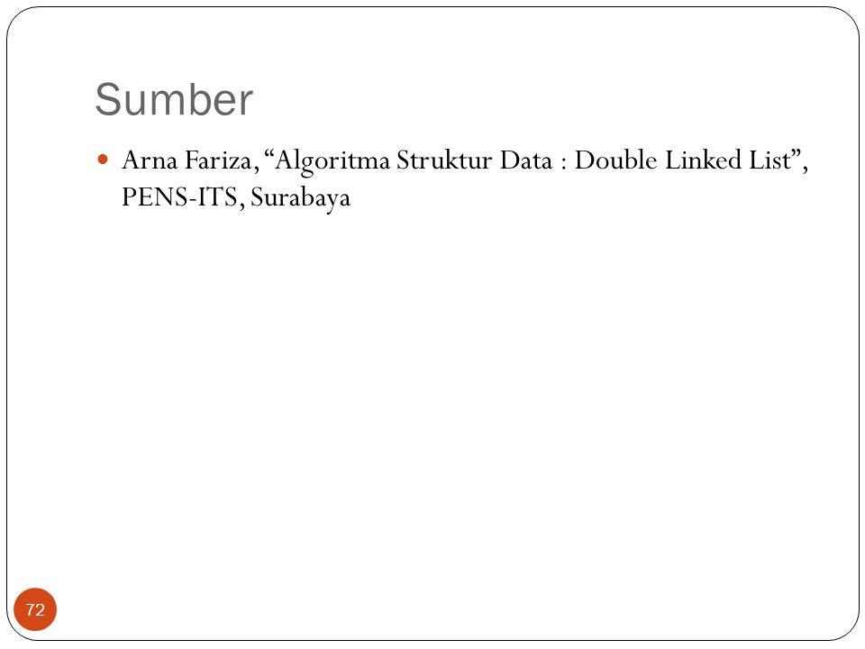"Sumber 72 Arna Fariza, ""Algoritma Struktur Data : Double Linked List"", PENS-ITS, Surabaya"