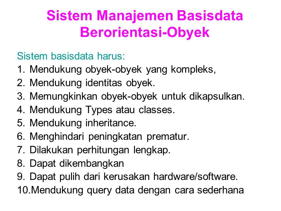 Sistem Manajemen Basisdata Berorientasi-Obyek Sistem basisdata harus: 1.Mendukung obyek-obyek yang kompleks, 2.Mendukung identitas obyek.