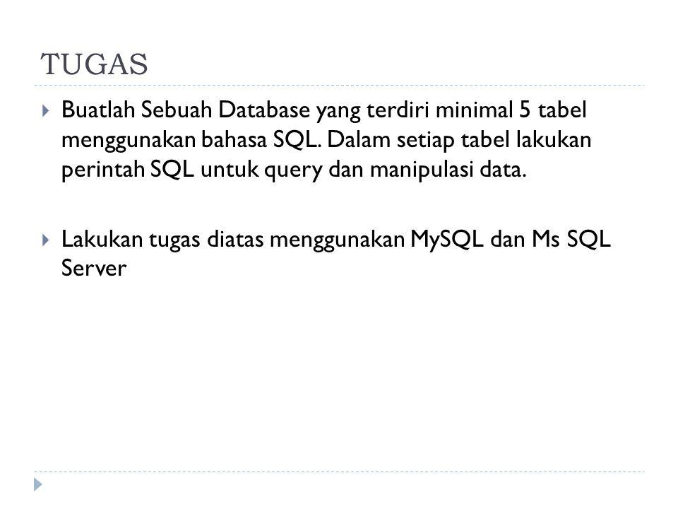 TUGAS  Buatlah Sebuah Database yang terdiri minimal 5 tabel menggunakan bahasa SQL. Dalam setiap tabel lakukan perintah SQL untuk query dan manipulas