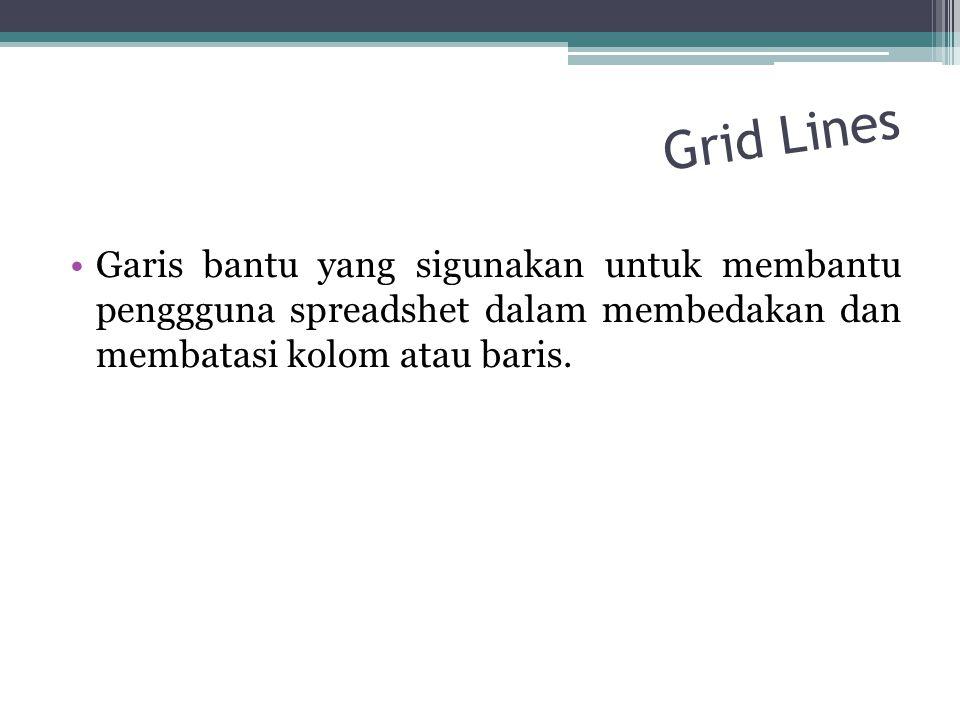 Grid Lines Garis bantu yang sigunakan untuk membantu penggguna spreadshet dalam membedakan dan membatasi kolom atau baris.
