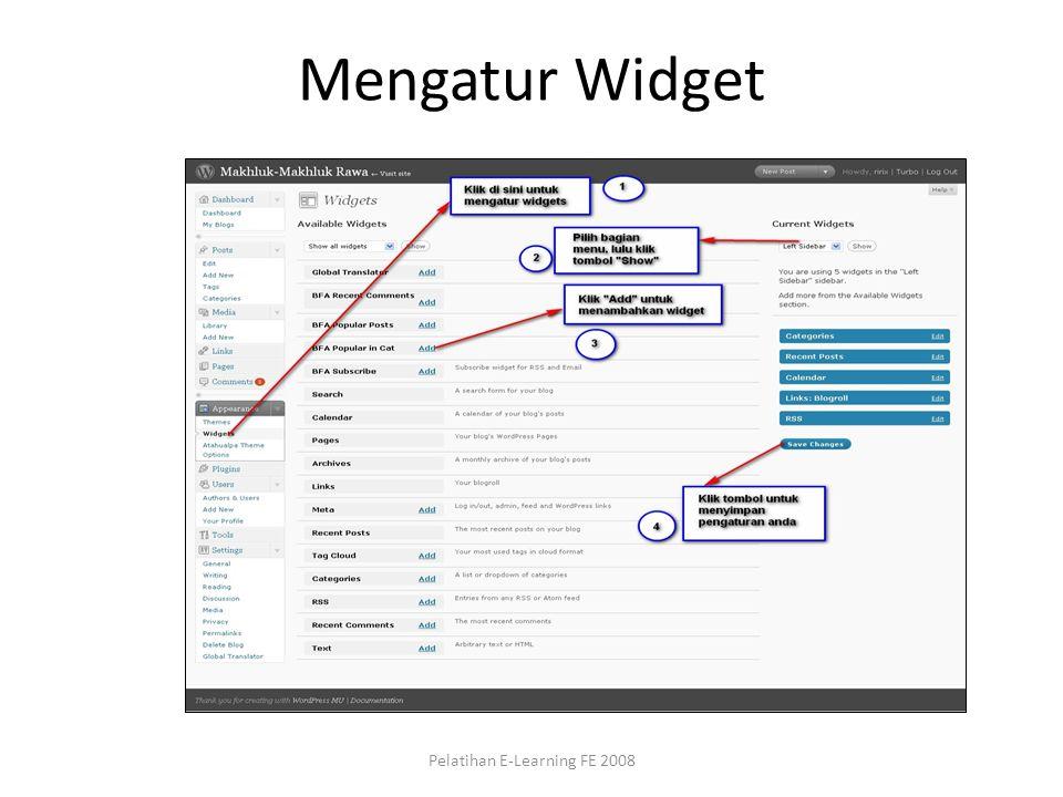 Mengatur Widget Pelatihan E-Learning FE 2008