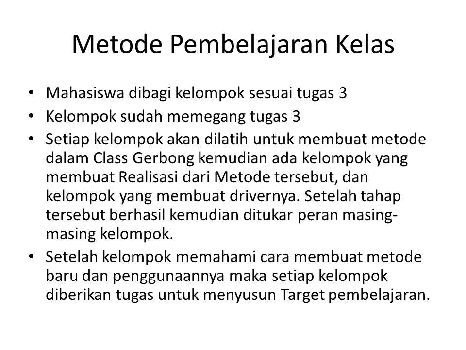 Metode Pembelajaran Kelas Mahasiswa dibagi kelompok sesuai tugas 3 Kelompok sudah memegang tugas 3 Setiap kelompok akan dilatih untuk membuat metode d