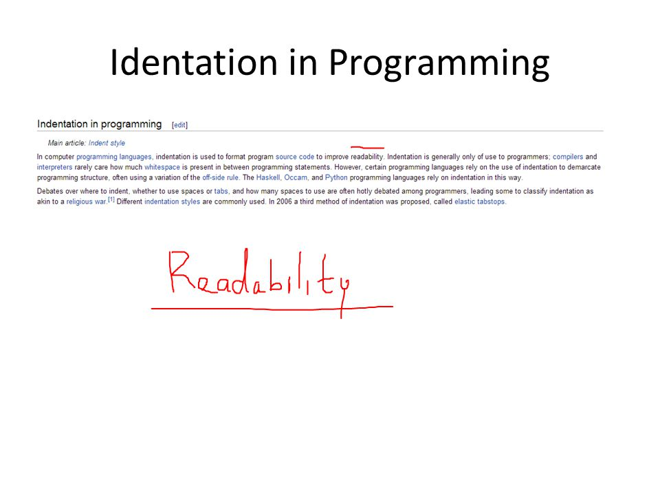 Identation in Programming