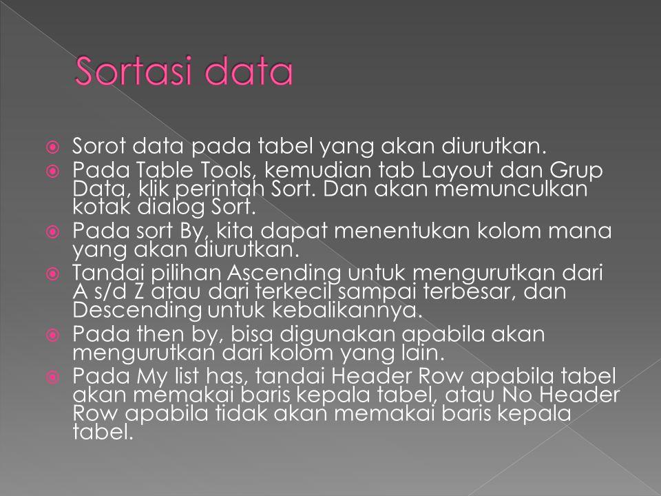  Sorot data pada tabel yang akan diurutkan.  Pada Table Tools, kemudian tab Layout dan Grup Data, klik perintah Sort. Dan akan memunculkan kotak dia
