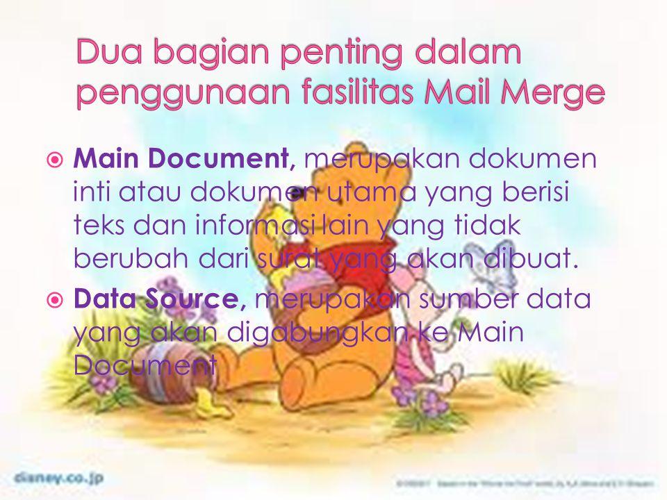  Main Document, merupakan dokumen inti atau dokumen utama yang berisi teks dan informasi lain yang tidak berubah dari surat yang akan dibuat.  Data