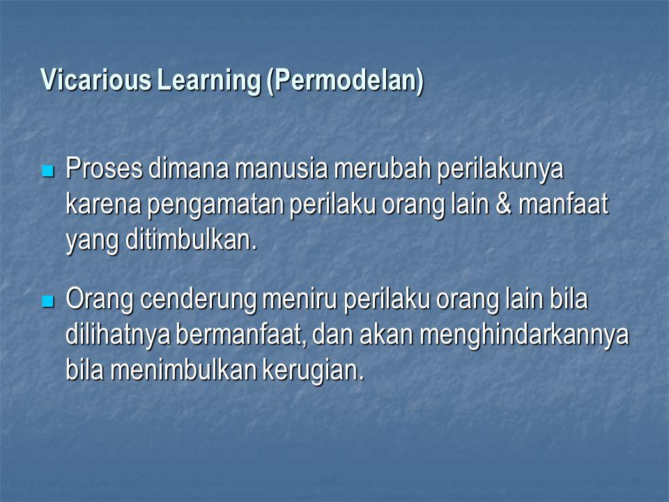 Vicarious Learning (Permodelan) Proses dimana manusia merubah perilakunya karena pengamatan perilaku orang lain & manfaat yang ditimbulkan. Proses dim