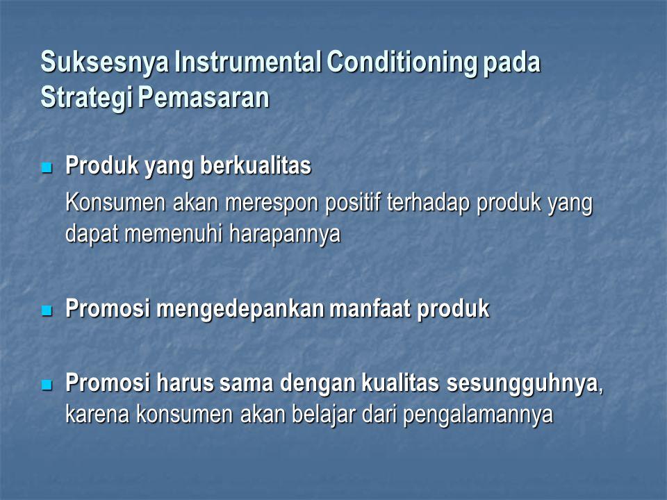 Suksesnya Instrumental Conditioning pada Strategi Pemasaran Produk yang berkualitas Produk yang berkualitas Konsumen akan merespon positif terhadap pr