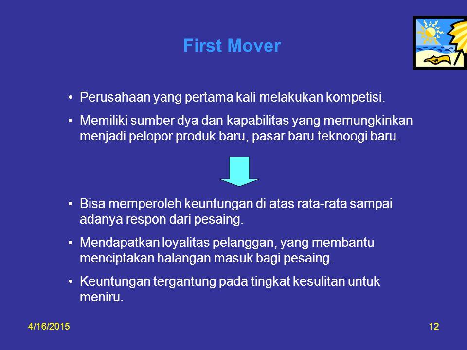 4/16/201512 First Mover Perusahaan yang pertama kali melakukan kompetisi. Memiliki sumber dya dan kapabilitas yang memungkinkan menjadi pelopor produk