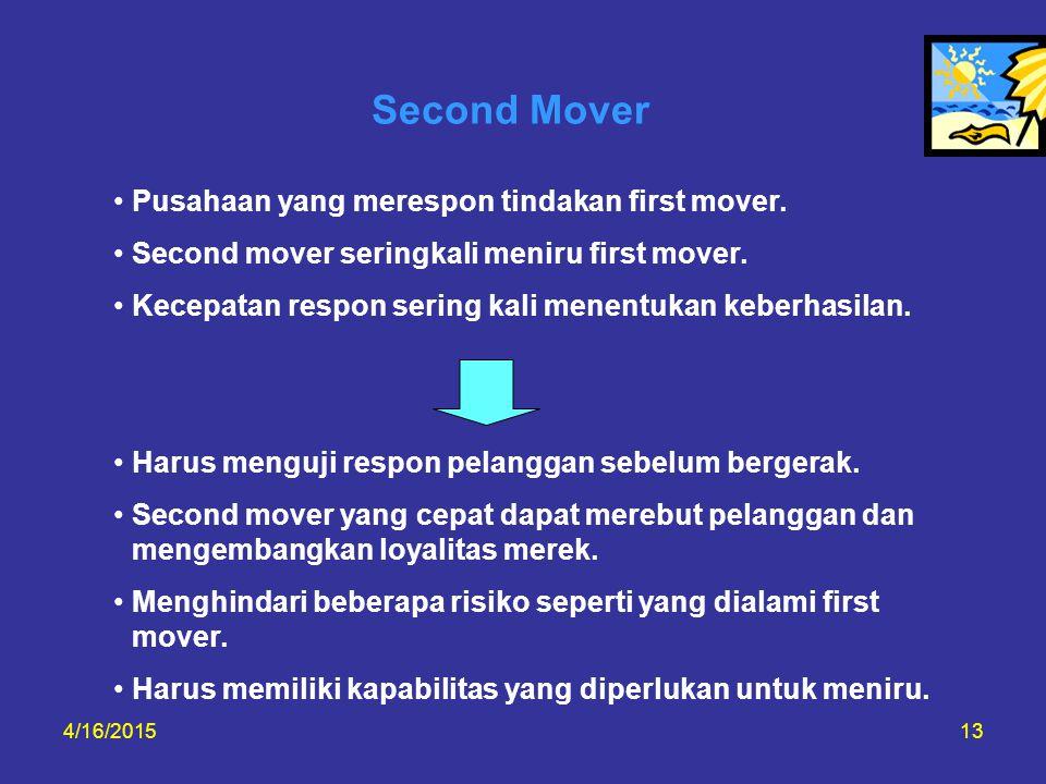 4/16/201513 Second Mover Pusahaan yang merespon tindakan first mover. Second mover seringkali meniru first mover. Kecepatan respon sering kali menentu