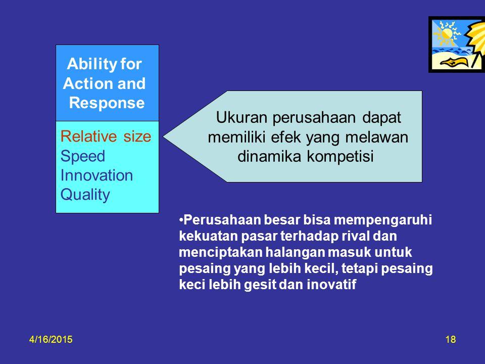 4/16/201518 Relative size Speed Innovation Quality Ability for Action and Response Ukuran perusahaan dapat memiliki efek yang melawan dinamika kompeti