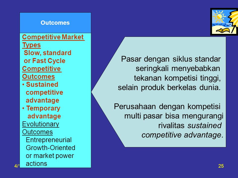 4/16/201525 Outcomes Competitive Market Types Slow, standard or Fast Cycle Competitive Outcomes Sustained competitive advantage Temporary advantage Ev