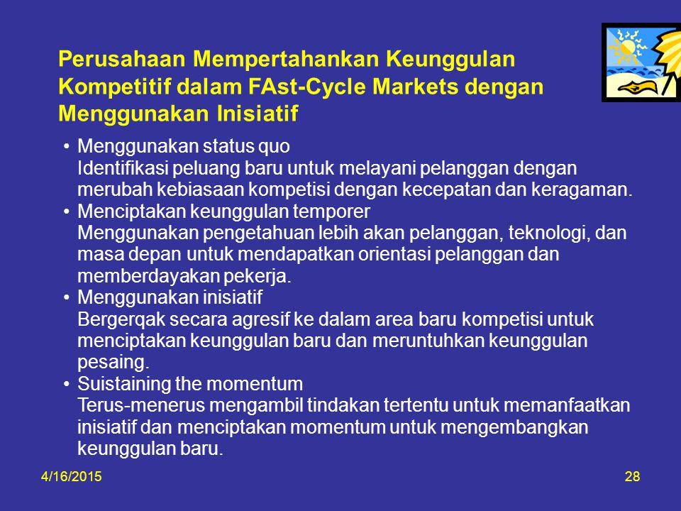 4/16/201528 Perusahaan Mempertahankan Keunggulan Kompetitif dalam FAst-Cycle Markets dengan Menggunakan Inisiatif Menggunakan status quo Identifikasi