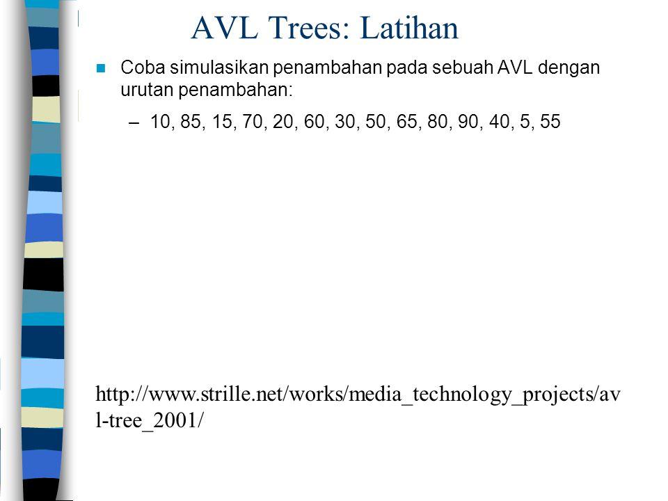 AVL Trees: Latihan Coba simulasikan penambahan pada sebuah AVL dengan urutan penambahan: –10, 85, 15, 70, 20, 60, 30, 50, 65, 80, 90, 40, 5, 55 http:/