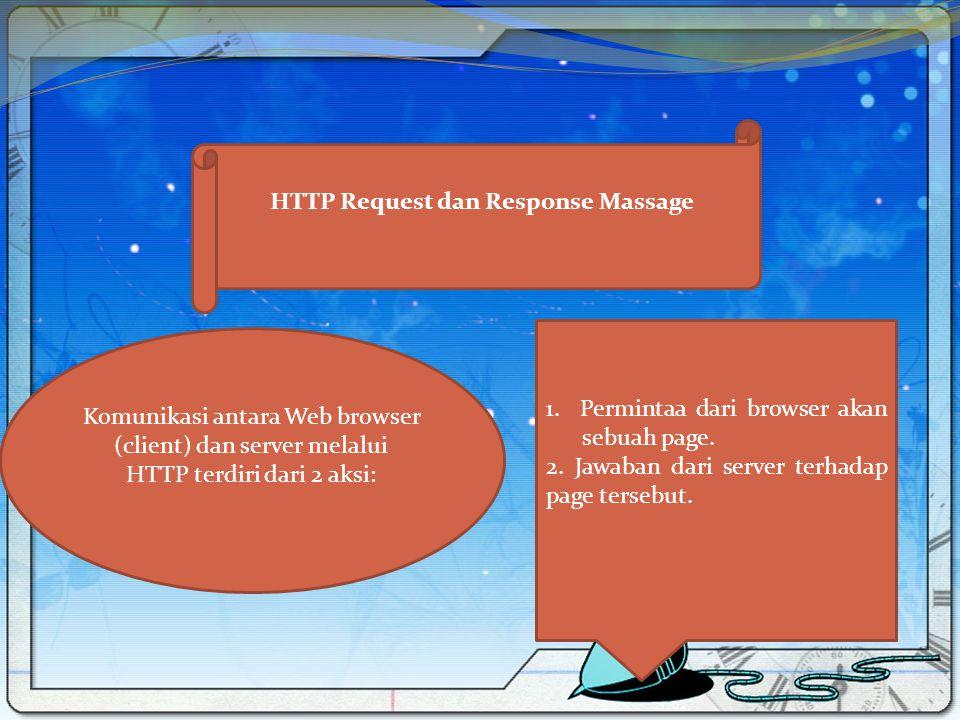 HTTP Request dan Response Massage Komunikasi antara Web browser (client) dan server melalui HTTP terdiri dari 2 aksi: 1. Permintaa dari browser akan s
